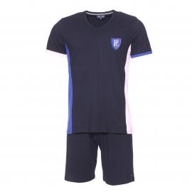 Pyjama court Eden Park en coton : tee-shirt bleu marine à écusson et short uni bleu marine