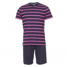 Pyjama court Eden Park en coton : tee-shirt noir rayé fushia et short uni noir