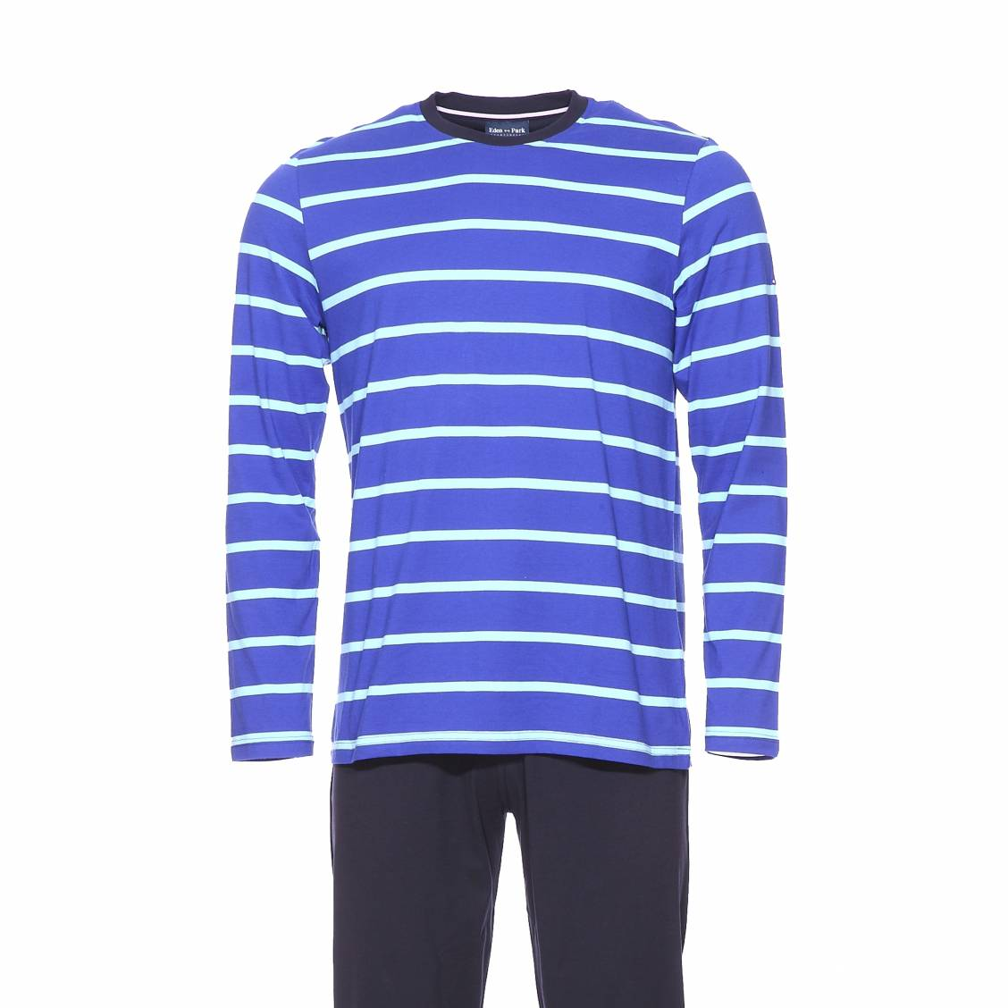 Pyjama long  en coton : tee-shirt manches longues bleu indigo rayé turquoise et pantalon uni noir
