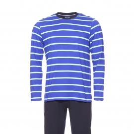 Pyjama long Eden Park en coton : tee-shirt manches longues bleu indigo rayé turquoise et pantalon uni noir