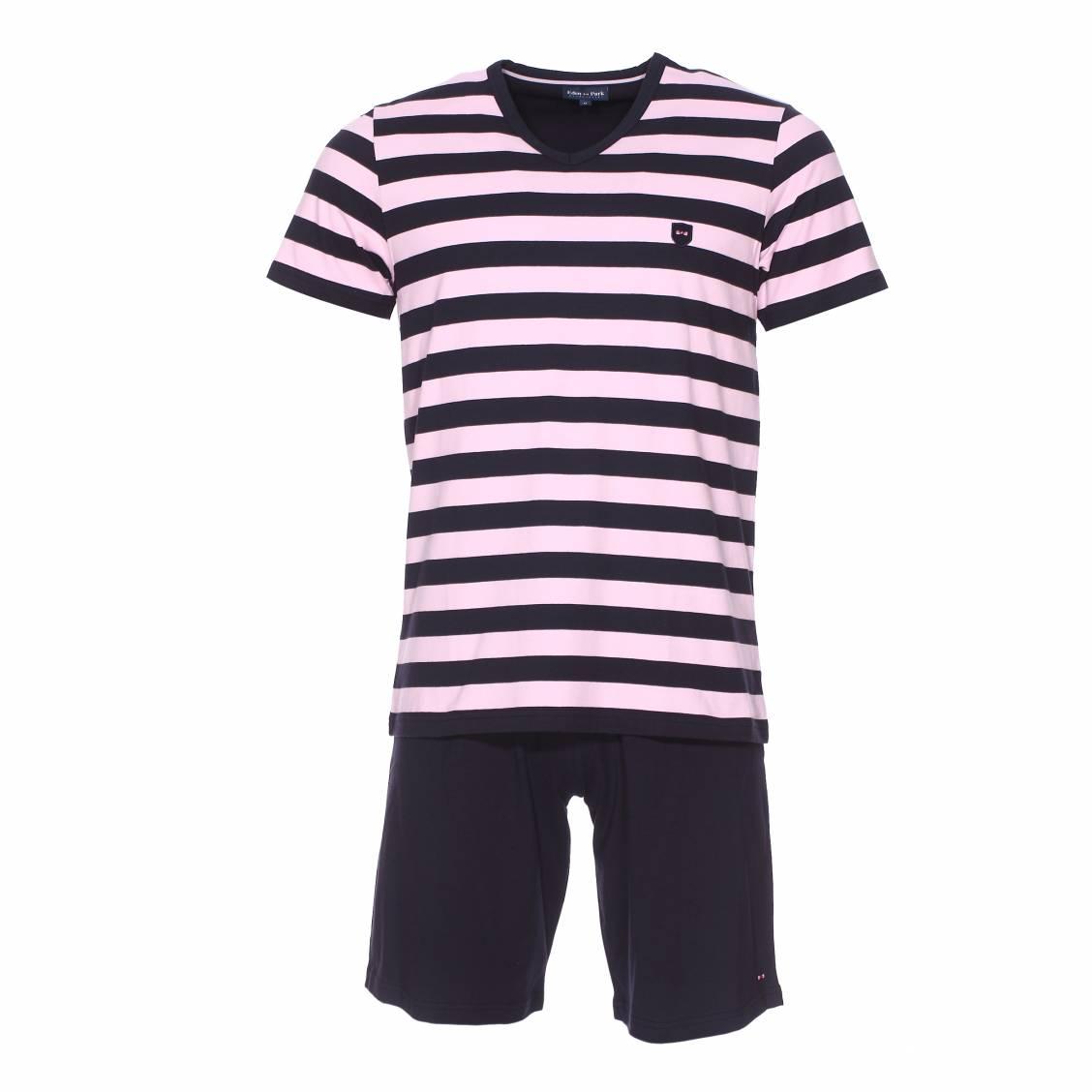 Pyjama court  en coton : tee-shirt bleu marine rayé rose et short uni bleu marine