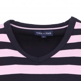 Pyjama court Eden Park en coton : tee-shirt bleu marine rayé rose et short uni bleu marine