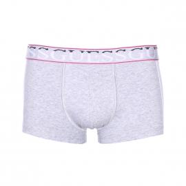 Shorty Guess en coton stretch gris et blanc à ceinture monogrammée