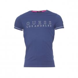 Tee-shirt Guess en coton stretch bleu floqué en blanc