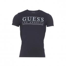 Tee-shirt Guess en coton stretch noir floqué