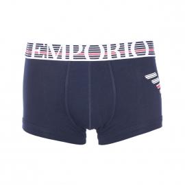 Boxer Emporio Armani en coton stretch noir à logo Eagle rayé blanc et rouge
