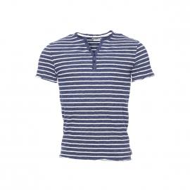 Tee-shirt Gourou Harris Wilson col tunisien en coton flammé à rayures bleu navy et écrues