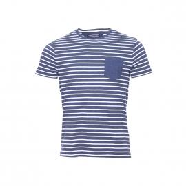 Tee-shirt Tommy Hilfiger bleu navy chiné à rayures blanches