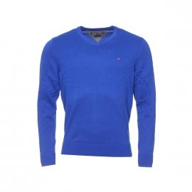 Pull Pacific col V en coton premium Tommy Hilfiger bleu roi