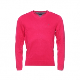 Pull Pacific col V en coton premium Tommy Hilfiger rose framboise