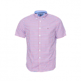Chemise droite manches courtes Tommy Hilfiger en coton à carreaux rouges, bleus et blancs