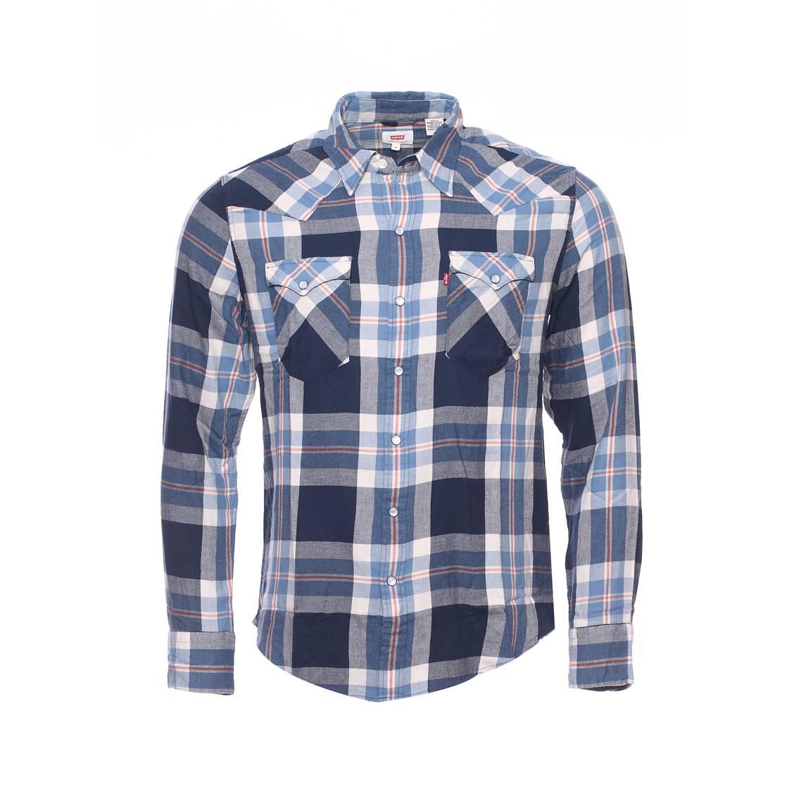 chemise droite levi 39 s en coton carreaux bleu marine bleu clair et blancs rue des hommes. Black Bedroom Furniture Sets. Home Design Ideas