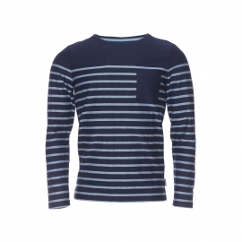 Tee-shirt manches longues Gangster Harris Wilson bleu marine à rayures brodées bleu horizon