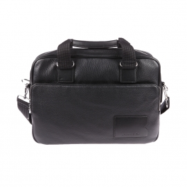 Porte-ordinateur/ documents Lacoste Premium en cuir noir