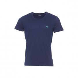 Tee-shirt col V Emporio Armani en coton bleu marine, logo Eagle vert pomme