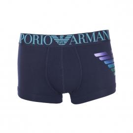Boxer Emporio Armani en coton stretch bleu marine, Imprimé Eagle en dégradé de violet, bleu et vert satiné