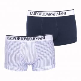 Lot de 2 boxers Emporio Armani en coton stretch : 1 modèle blanc à rayures bleu marine et 1 modèle bleu marine