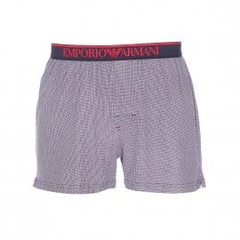 Caleçon Emporio Armani en coton blanc à petits carreaux rouges et bleu marine