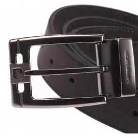 Ceinture Pierre Cardin ajustable en cuir mat noir, Boucle siglée