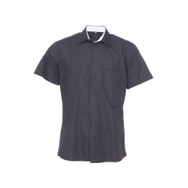 Chemise manches courtes Jean Chatel noire à opposition blanche à carreaux, Repassage facile