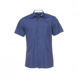 Chemise manches courtes Jean Chatel bleu marine à opposition blanche à carreaux, Repassage facile