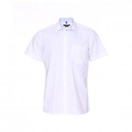 Chemise manches courtes Jean Chatel blanche à opposition à carreaux bleu ciel, Repassage facile