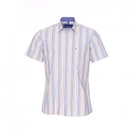 Chemise manches courtes Jean Chatel en fil à fil à rayures jaune pâle, ocre, bleu jean, vertes et blanches