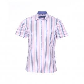 Chemise manches courtes Jean Chatel en fil à fil à rayures roses, rose pâle, blanches, bleu ciel et bleu jean