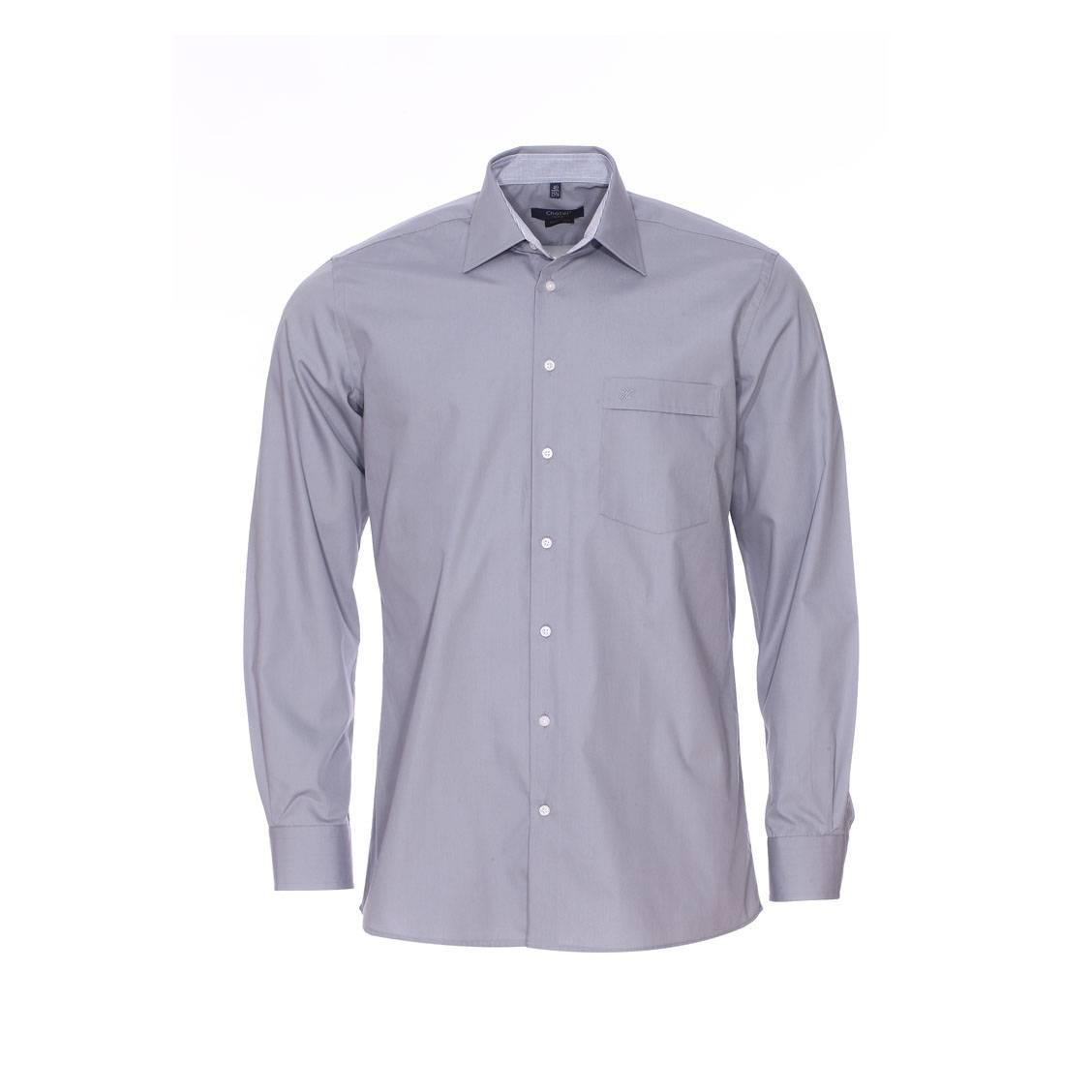 Chemise ajustée  grise à opposition blanche à carreaux, repassage facile