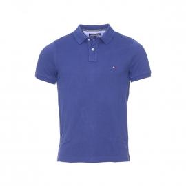 Polo slim fit Tommy Hilfiger en coton premium piqué bleu nuit