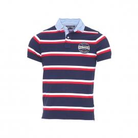 Polo slim fit Bay Tommy Hilfiger en coton piqué à rayures bleu marine, blanches et rouges