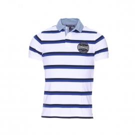 Polo slim fit Bay Tommy Hilfiger en coton piqué à rayures blanches, bleu marine et bleu roi
