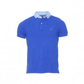 Polo slim fit Tommy Hilfiger en coton piqué bleu roi à col effet denim