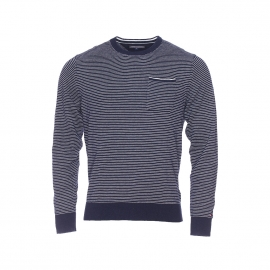 Pull Tommy Hilfiger en coton et lin bleu marine à fines rayures blanches