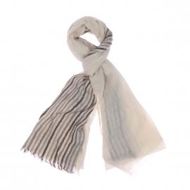 Chèche Harris Wilson Totem écru chiné à rayures beiges, grises et noires
