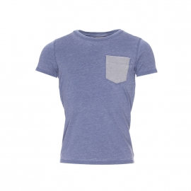 Tee-shirt Petrol Industries en coton flammé bleu lavande à poche unie