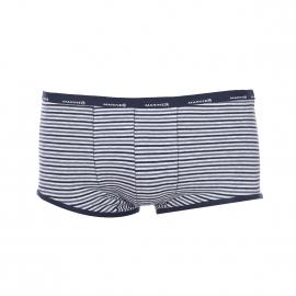 Shorty Mariner en coton gris à rayures bleues