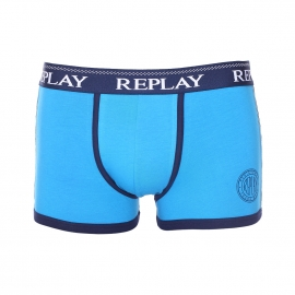 Boxer Replay en coton stretch : 1 coté bleu turquoise et 1 coté bleu marine