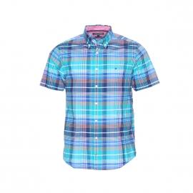 Chemise manches courtes Tommy Hilfiger en coton à carreaux bleus, blancs et orange