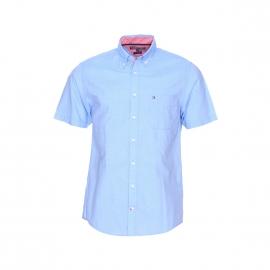 Chemise manches courtes Tommy Hilfiger en coton bleu ciel à fines rayures blanches