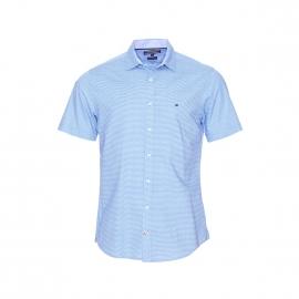 Chemise manches courtes Tommy Hilfiger bleu ciel à motifs blancs