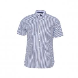Chemise manches courtes Tommy Hilfiger blanche à rayures bleu marine