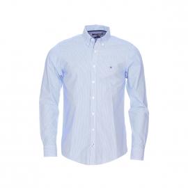 Chemise cintrée Tommy Hilfiger en coton à rayures bleues et blanches