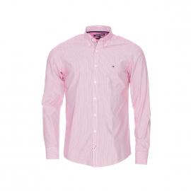 Chemise cintrée Tommy Hilfiger en coton à rayures rouges et blanches