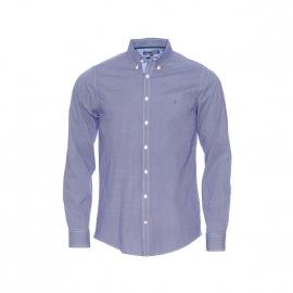Chemise cintrée Tommy Hilfiger en coton stretch bleu marine à pois blancs