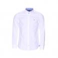 Chemise ajustée Tommy Hilfiger en popeline de coton blanche, opposition à petits carreaux bleus et blancs
