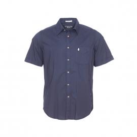 Chemise manches courtes MCS en coton bleu marine