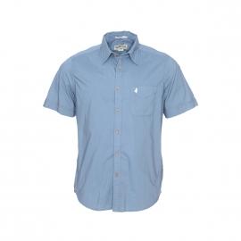 Chemise manches courtes MCS en coton bleu acier