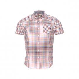 Chemise manches courtes MCS en coton à carreaux beiges, noirs, rouges, prune, jaunes et bleus