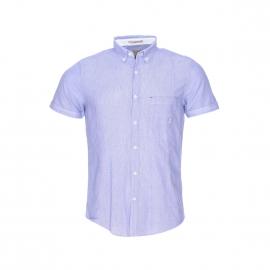 Chemise manches courtes MCS en coton bleu tissage fil à fil